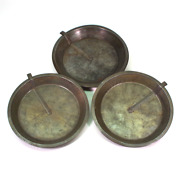 Three 3 Vintage Metal Pie Plates Baking Pans - All W Pivoting Release Knife