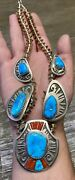 Finest Michael Perry Navajo Sterling Turquoise And Coral Squash Blossom Necklace
