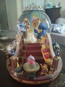 Vintage 1991 Disney Beauty And The Beast Musical Snow Globe With Fireplace Nib