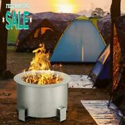Stove Bonfire Fire Pit 21.5 Inch Stainless Steel Outdoor Smokeless Fireplace New