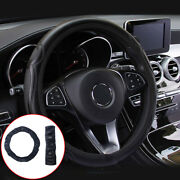38cm Universal Leather Steering Wheel Covers For Auto Car Suv Van Solid Black X1