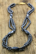 Hematite Vintage Necklace Natural Stone Beads Healing Collier Perles