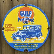 Vintage Gulf Penetrating Oil Porcelain Metal Gas Auto Lube Advertising Car Sign