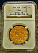 1946 So Gold Chile 100 Pesos Santiago Mint Ngc Mint State 64 Rare