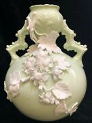 Ktk Lotus Ware Celadon Thebian Vase W/applied White Flower And Branch Book Piece