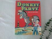 Vintage Pin The Tail On The Donkey Party Paper Game Ephemera Tails 1941
