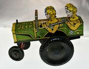 Vintage Marx Jumpin' Jeep 1940's Wind Up Toy Tin Litho Military Vehicle Working