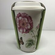 New Lenox Ceramic Thermal Travel Mug Butterfly Meadow Tumbler 12 Oz Silicone Lid