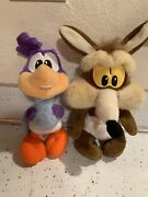 Looney Tunes Baby Wile E. Coyote And Baby Road Runner 1999 Plush Lot Of 2