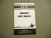 1972 Vintage Arctic Cat Snowmobile Warranty Booklet Ext, Turf Tiger