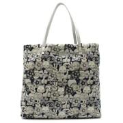 Tote Bag Cat Piece Camellia Pattern Printed Fabric Nylon Leather Grey