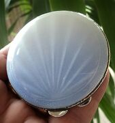 Art Deco Sterling Silver And Fading Blue To White Enamel Sunburst Compact H/m 1941