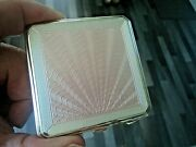 Sterling Silver And Pink Sunburst Enamel Art Deco Compact H/m 1946 Joseph Gloster
