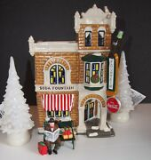 Dept 56 Coca-cola Brand Corner Drugstore Rest Ye Weary Bench Figure And2 Led Trees