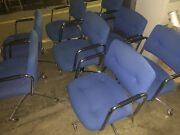 Vintage 1989 Steelcase Cloth Blue Rolling Office Chairs Chrome Lot Of 8 Chairs