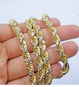 Solid 10k Yellow Gold Rope Chain 7mm Diamond Cut Mens Necklace 20 -30 Unique