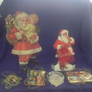 Antique And Vintage German Scrap And Stand Up Santa Claus Christmas Ornament Lot