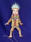 Antique German Bavaria Lithographed Paper On Wood Indian Boy Jumping Jack Toy