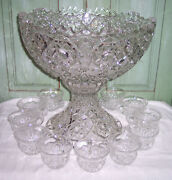 Vintage Fostoria Rosby Large Punch Bowl W/pedestal Base And 11 Cups