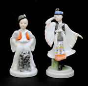 Vintage Herend Boy With Dog 5483 And Rare Girl In Native Dress Figurines Perfect