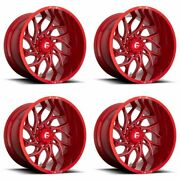 4 Fuel 20x8.25 D742 Runner Rear Dually Wheels Candy Red Milled 8x200 -202mm
