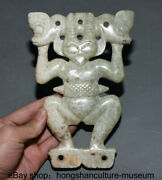 7.6 Hong Shan Culture Old Jade Stone Carved Pig Dragon Bird God Helios Statue