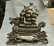 17.2 Rare China Copper Feng Shui Dragon-boat Beychevelle Sailing Ship Statue