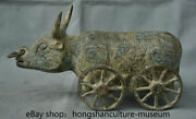 10 Rare Old Chinese Bronze Ware Dynasty Cattle Bull 4 Wheel Ox Cart Statue