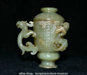 12cm China Old Hetian Jade Nephrite Dynasty Dragon Beast Handle Pot Goblet Cup