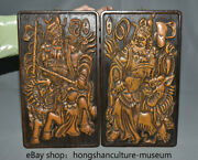 14.8 China Wood Hand Carved Dynasty Officers And Men Warrior Kylin Guajian Pair