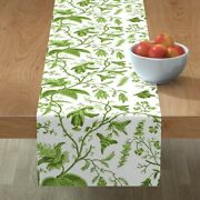Table Runner Green Vines Botanical Chinoiserie Chinese Oriental Cotton Sateen