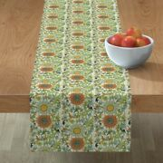 Table Runner Chinese Asian Oriental Tapestry Damask Jade Leaf Cotton Sateen
