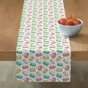 Table Runner Macaron Macarons Sweets Bakery Candy Cookies Food Cotton Sateen