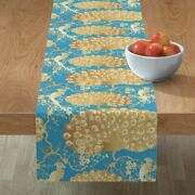 Table Runner Peacock Cherry Blossom Chinoiserie Chinese Oriental Cotton Sateen