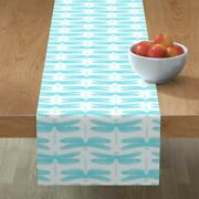 Table Runner Blue Dragonflies Entomology Bugs Insects Baby White Cotton Sateen