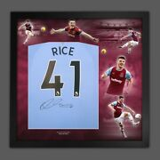 Declan Rice Signed Back West Ham Football Shirt In Framed Picture Mount Display