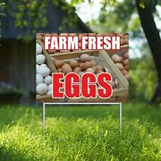 Farm Fresh Eggs Yard Sign Corrugate Plastic With H-stakes Farmers Market Stand