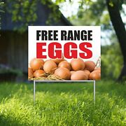 Free Range Eggs Yard Sign Corrugate Plastic With H-stakes Farm Stand Market
