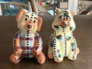 Rare Vintage Ceramic Raggedy Ann And Andy Doll Dog And Cat Figurines Bank C1940-50s