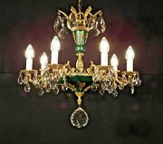 Massive Antique Brass French Green Empire 7 Arm 7 Lite Lead Crystal Chandelier