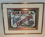 Collectible 1986 Lone Star Beer Sesquicentennial Foiled Bar Sign Plaque -sfc