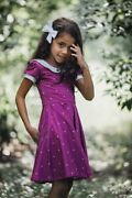 New Girls Omi Jo Well Dressed Wolf Collared Magenta Dot Dancer Dress Size 2t Nwt