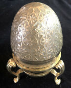 Rare Russian Imperial Antique Footed Stand Enamelled Egg