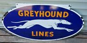 Vintage 1930andrsquos Double-sided Porcelain Greyhound Lines Bus Depot Sign.