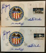 2 Apollo 16 Crew Signed Insurance Covers Ex John W. Young