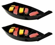 Set Of Six Japanese Black Lacquered Plastic Sushi Boat Serving Plate Display