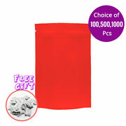4x6in Double Side Red Matte Foil Mylar Stand Up Zip Lock Bag W/ Desiccant R06
