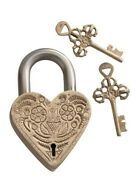 Victorian Trading Co Brass Heart Shaped Floral Love Lock Padlock And Key