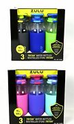 Zulu Kids Tag Tritan 18oz/532ml Water Bottles W/ Protective Silicone Boot 3-pack