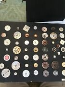 Card Of 51- Antique And Vintage Fancy Pearl Buttons Small,medium,and Large